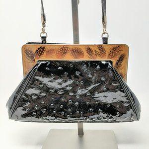 John Galliano Patent Leather Ostrich Purse Clutch